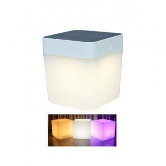 LUTEC 6908003331 | Table-Cube Lutec hordozható, asztali lámpa fényerőszabályzós érintőkapcsoló napelemes/szolár, szabályozható fényerő, színváltós 1x LED 100lm IP44 fehér, opál