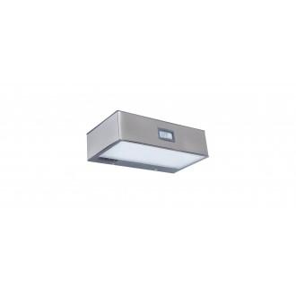 LUTEC 6908501308 | Brick-LU Lutec fali lámpa mozgásérzékelő, kapcsoló napelemes/szolár 1x LED 150lm 4000K IP44 nemesacél, rozsdamentes acél, átlátszó