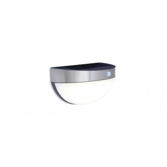 LUTEC 6908701001 | Bubble Lutec fali lámpa mozgásérzékelő, kapcsoló napelemes/szolár 1x LED 200lm 4000K IP44 nemesacél, rozsdamentes acél, opál