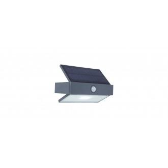 LUTEC 6910601335 | Arrow-LU Lutec falikar lámpa mozgásérzékelő, kapcsoló napelemes/szolár 1x LED 180lm 5000K IP44 antracit szürke, átlátszó