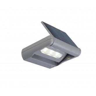 LUTEC 6914401000 | Mini-LedspoT Lutec falikar lámpa fényerőszabályzós kapcsoló napelemes/szolár, szabályozható fényerő, elforgatható alkatrészek 1x LED 100lm 4000K IP44 ezüstszürke, átlátszó