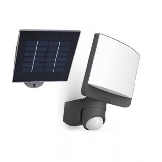 LUTEC 6925601345 | Sunshine Lutec fényvető lámpa mozgásérzékelő, fényérzékelő szenzor - alkonykapcsoló napelemes/szolár, elforgatható alkatrészek 1x LED 500lm 5000K IP44 antracit szürke, opál