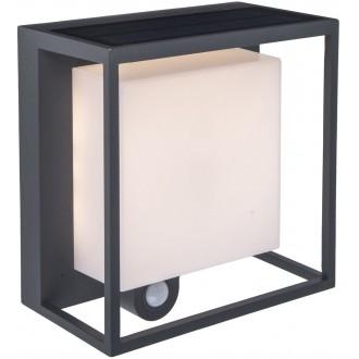 LUTEC 6934601118 | Curtis Lutec fali lámpa mozgásérzékelő napelemes/szolár 1x LED 300lm 3000K IP54 sötétszürke, opál