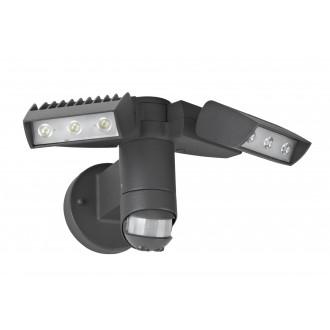 LUTEC 7615601118 | Corn Lutec fényvető lámpa mozgásérzékelő, fényérzékelő szenzor - alkonykapcsoló elforgatható alkatrészek 2x LED 2100lm 4000K IP54 antracit szürke