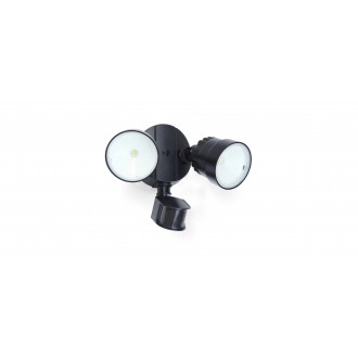 LUTEC 7622104330 | Shrimp Lutec fényvető lámpa mozgásérzékelő, fényérzékelő szenzor - alkonykapcsoló elforgatható alkatrészek 2x LED 1360lm 5000K IP54 fekete, átlátszó