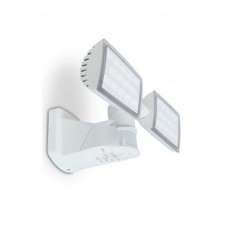 LUTEC 7629401331 | Peri-LU Lutec fényvető lámpa mozgásérzékelő, fényérzékelő szenzor - alkonykapcsoló elforgatható alkatrészek 2x LED 3280lm 5000K IP54 fehér, átlátszó