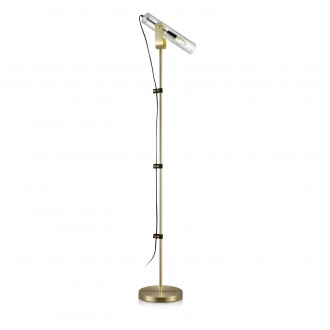 MARKSLOJD 106842 | Winston-MS Markslojd álló lámpa 152cm vezeték kapcsoló 1x E14 sárgaréz, átlátszó, fekete