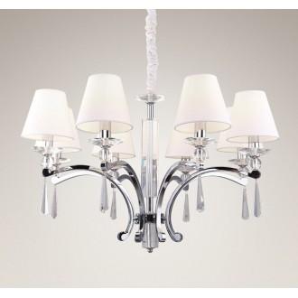 MAXLIGHT P0106 | Lisbona Maxlight csillár lámpa 8x E14 króm, fehér, átlátszó