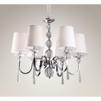 MAXLIGHT P0109 | CharlotteM Maxlight csillár lámpa 6x E14 króm, fehér, átlátszó