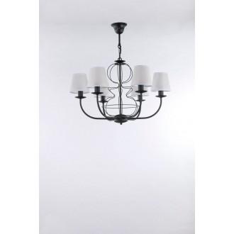 NAMAT 3262 | Fiora Namat csillár lámpa 6x E14 matt fekete, áttetsző fehér