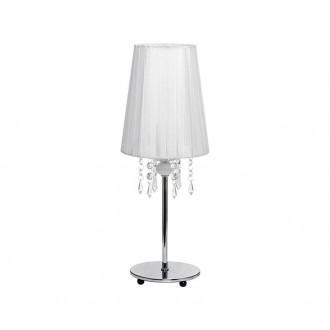NOWODVORSKI 5263 | Modena Nowodvorski asztali lámpa 41cm kapcsoló 1x E14 króm, fehér, áttetsző