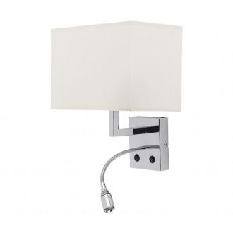 NOWODVORSKI 6800 | Hotel Nowodvorski falikar lámpa két kapcsoló flexibilis 1x E27 + 1x LED króm, fehér