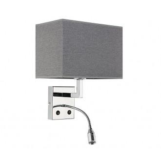 NOWODVORSKI 9302 | Hotel Nowodvorski falikar lámpa két kapcsoló flexibilis 1x E27 + 1x LED szürke, króm