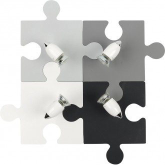 NOWODVORSKI 9728 | Puzzle Nowodvorski fali, mennyezeti lámpa elforgatható alkatrészek 4x GU10 szürke, fehér, fekete