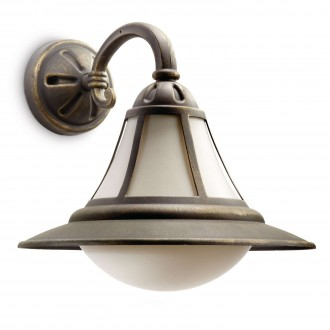 PHILIPS 15211/42/16 | Provence Philips fali lámpa 1x E27 1570lm 2700K IP44 fekete, antikolt arany