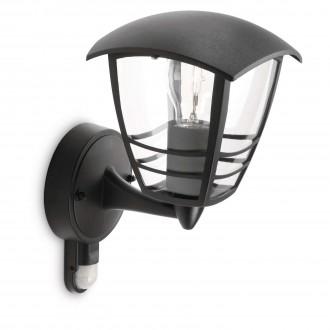 PHILIPS 15388/30/16 | CreekP Philips fali lámpa mozgásérzékelő 1x E27 IP44 fekete
