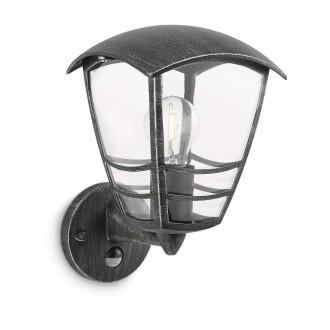 PHILIPS 15468/54/16 | Stream Philips fali lámpa mozgásérzékelő 1x E27 IP44 antikolt fekete, átlátszó