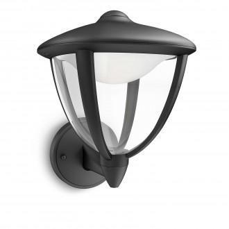 PHILIPS 15470/30/16 | Robin Philips fali lámpa 1x LED 430lm 2700K IP44 fekete, fehér, átlátszó