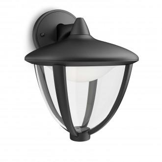 PHILIPS 15471/30/16 | Robin Philips fali lámpa 1x LED 430lm 2700K IP44 fekete, fehér, átlátszó
