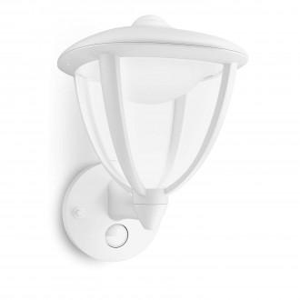 PHILIPS 15479/31/16 | Robin Philips fali lámpa mozgásérzékelő 1x LED 430lm 2700K IP44 fehér, átlátszó