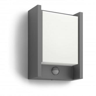 PHILIPS 16461/93/16 | Arbour Philips fali lámpa mozgásérzékelő 1x LED 600lm 2700K IP44 antracit, fehér