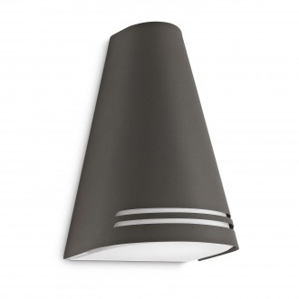 PHILIPS 17226/93/16 | Woods Philips fali lámpa energiatakarékos izzóhoz tervezve 1x E27 970lm 2700K IP44 antracit, fehér