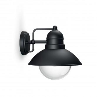 PHILIPS 17237/30/PN | Hoverfly Philips fali lámpa 1x E27 IP44 fekete, átlátszó