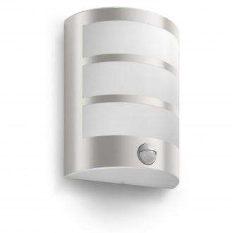 PHILIPS 17324/47/16 | Python Philips fali lámpa mozgásérzékelő 1x LED 600lm 2700K IP44 inox, fehér