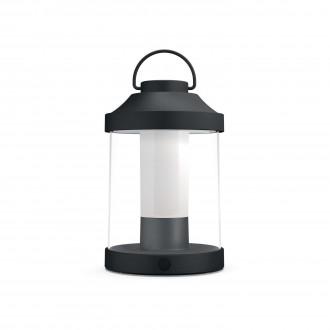 PHILIPS 17360/30/P0 | Abelia Philips hordozható lámpa henger fényerőszabályzós kapcsoló szabályozható fényerő, USB csatlakozó 1x LED 350lm 2700K IP44 fekete, fehér, átlátszó