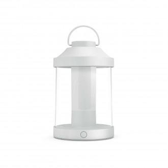 PHILIPS 17360/31/P0 | Abelia Philips hordozható lámpa henger fényerőszabályzós kapcsoló szabályozható fényerő, USB csatlakozó 1x LED 350lm 2700K IP44 fehér, átlátszó