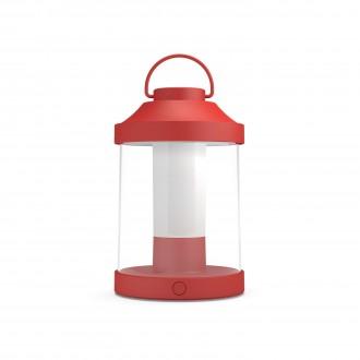 PHILIPS 17360/32/P0 | Abelia Philips hordozható lámpa henger fényerőszabályzós kapcsoló szabályozható fényerő, USB csatlakozó 1x LED 350lm 2700K IP44 piros, fehér, átlátszó