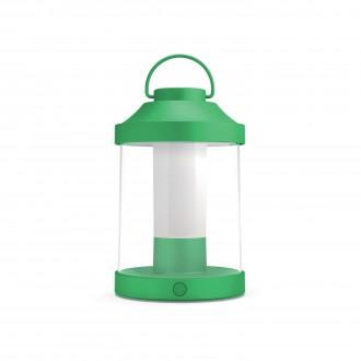 PHILIPS 17360/33/P0 | Abelia Philips hordozható lámpa henger fényerőszabályzós kapcsoló szabályozható fényerő, USB csatlakozó 1x LED 350lm 2700K IP44 zöld, fehér, átlátszó