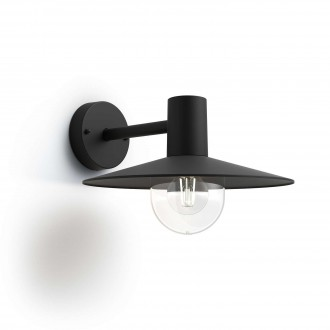 PHILIPS 17382/30/PN | Skua Philips falikar lámpa 1x E27 IP44 fekete, átlátszó