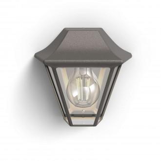 PHILIPS 17385/43/PN | Curassow Philips fali lámpa 1x E27 IP44 antikolt barna, átlátszó