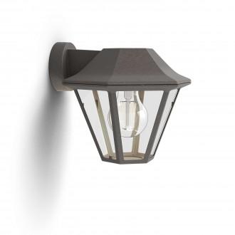 PHILIPS 17386/43/PN | Curassow Philips falikar lámpa 1x E27 IP44 antikolt barna, átlátszó