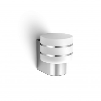PHILIPS 17404/47/P0 | PHILIPS-hue_Tuar Philips falikar hue okos világítás szabályozható fényerő 1x E27 806lm 2700K IP44 inox, fehér