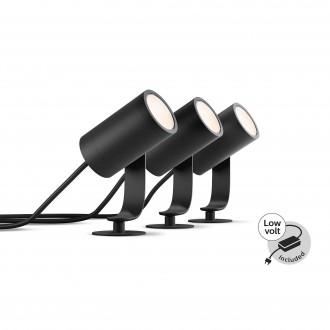 PHILIPS 17414/30/P7 | PHILIPS-hue-Lily Philips leszúrható BASE hue okos világítás + LED tápegység szabályozható fényerő, állítható színhőmérséklet, színváltós, 3 darabos szett 3x LED 1920lm 2700 <-> 6500K IP65 fekete