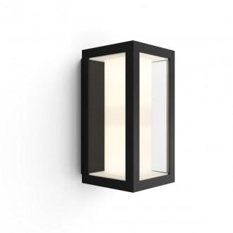 PHILIPS 17429/30/P7 | PHILIPS-hue-Impress Philips fali hue okos világítás négyszögletes szabályozható fényerő, állítható színhőmérséklet, színváltós 2x LED 1200lm 2700 <-> 6500K IP44 fekete, átlátszó, fehér