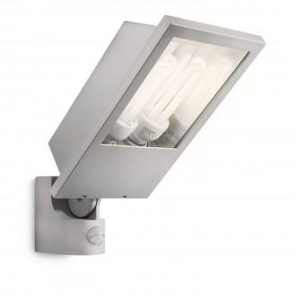 PHILIPS 17516/87/16 | Botanic Philips fényvető lámpa mozgásérzékelő 2x E27 2860lm 2700K IP44 világosszürke