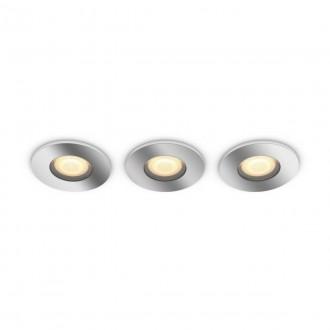 PHILIPS 34176/11/P6 | PHILIPS-hue-Adore Philips beépíthető hue DIM hordozható kapcsoló + hue okos világítás kerek távirányító szabályozható fényerő, állítható színhőmérséklet, Bluetooth, 3 darabos szett Ø94mm 3x GU10 1050lm 2200 <-> 6500K króm