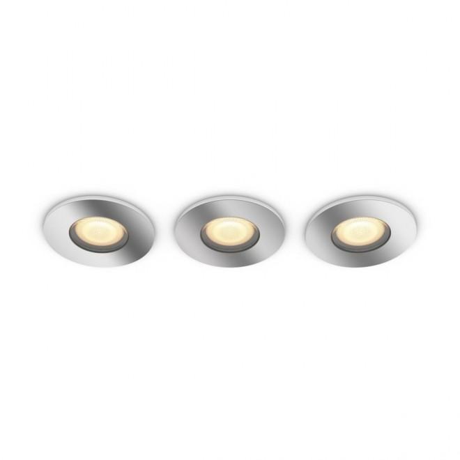 PHILIPS 34176/11/P6   PHILIPS-hue-Adore Philips beépíthető hue DIM hordozható kapcsoló + hue okos világítás kerek távirányító szabályozható fényerő, állítható színhőmérséklet, Bluetooth, 3 darabos szett Ø94mm 3x GU10 1050lm 2200 <-> 6500K króm