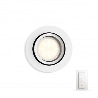 PHILIPS 50411/31/P7 | PHILIPS-hue-Milliskin Philips beépíthető hue DIM hordozható kapcsoló + hue okos világítás kerek távirányító szabályozható fényerő, állítható színhőmérséklet, billenthető 90x90mm 1x GU10 250lm 2200 <-> 6500K fehér