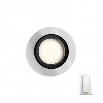 PHILIPS 50411/48/P7 | PHILIPS-hue_Milliskin Philips beépíthető hue okos világítás kerek távirányító szabályozható fényerő, állítható színhőmérséklet, billenthető 90x90mm 1x GU10 250lm 2200 <-> 6500K alumínium