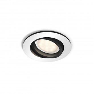 PHILIPS 50411/48/P8 | PHILIPS-hue_Milliskin Philips beépíthető hue okos világítás kerek szabályozható fényerő, állítható színhőmérséklet, billenthető 90x90mm 1x GU10 250lm 2200 <-> 6500K alumínium