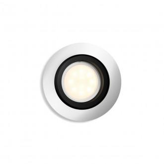 PHILIPS 50411/48/P9   PHILIPS-hue-Milliskin Philips beépíthető hue okos világítás kerek szabályozható fényerő, állítható színhőmérséklet, Bluetooth, billenthető Ø90mm 1x GU10 350lm 2200 <-> 6500K alumínium