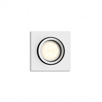PHILIPS 50421/31/P9   PHILIPS-hue-Milliskin Philips beépíthető hue okos világítás négyzet szabályozható fényerő, állítható színhőmérséklet, Bluetooth, billenthető 90x90mm 1x GU10 350lm 2200 <-> 6500K fehér