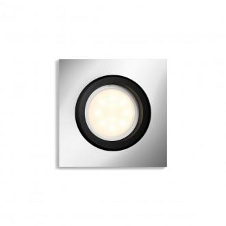 PHILIPS 50421/48/P9   PHILIPS-hue-Milliskin Philips beépíthető hue okos világítás négyzet szabályozható fényerő, állítható színhőmérséklet, Bluetooth, billenthető 90x90mm 1x GU10 350lm 2200 <-> 6500K alumínium