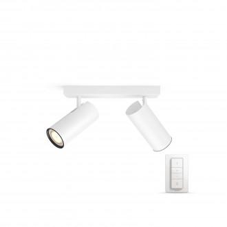 PHILIPS 50462/31/P7 | PHILIPS-hue_Buratto Philips fali, mennyezeti hue okos világítás kerek távirányító szabályozható fényerő, állítható színhőmérséklet 2x GU10 500lm 2200 <-> 6500K fehér