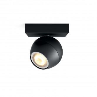 PHILIPS 50471/30/P8 | PHILIPS-hue-Buckram Philips fali, mennyezeti hue okos világítás kerek szabályozható fényerő, állítható színhőmérséklet 1x GU10 250lm 2200 <-> 6500K fekete