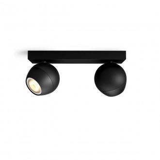 PHILIPS 50472/30/P6   PHILIPS-hue-Buckram Philips spot hue DIM hordozható kapcsoló + hue okos világítás kerek távirányító szabályozható fényerő, állítható színhőmérséklet, Bluetooth 2x GU10 700lm 2200 <-> 6500K fekete